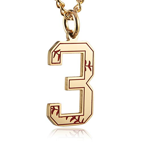 (HZMAN Baseball Initial Pendant Necklace Inspiration Baseball Jersey Number 0-9 Charms Stainless Steel Necklace (3 - Gold))