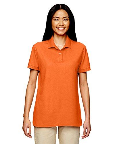 Gildan Women's Double-Needle Pique Polo Shirt , SAFETY ORANGE, Medium Double Pique Polo Shirt