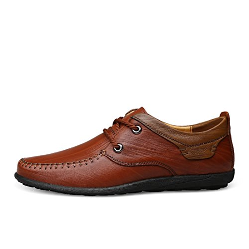Minitoo Boys Mens Stitched Lightweight Walking Shoes Brown