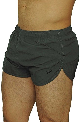 UZZI Men's American Flag and Nylon Swimwear Running Shorts (Medium, Charcoal)