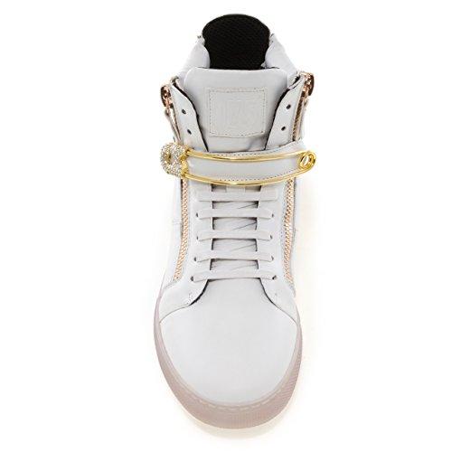 Salto J75 Maschile Zion Punta Rotonda Cinturino In Strass Lace-up High-top Sneaker Pin Bianco