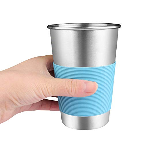 (Amlion Stainless Steel Cups 12 Oz Metal Drinking Tumbler Beer Cups None BPA)