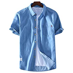 Men's Button Down Short Sleeve Lightweight Summer Chambray Denim Shirt