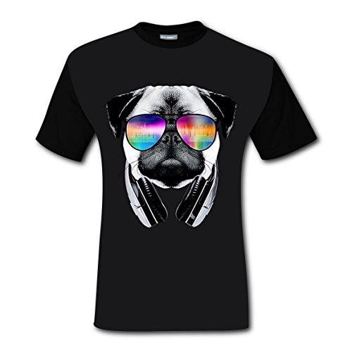 Party City Dj Costume (Cool DJ Dog Men T-shirt New Style Cool Tee Shirt Youth Short Sleeve Costumes DIY Fashion Fit For Man Men Teen Junior Black L)