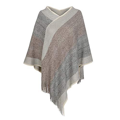 Women's Elegant Knitted Shawl Poncho with Fringed V-Neck Striped Sweater Pullover Cape Gifts for Women Mom