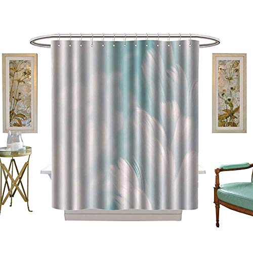 luvoluxhome Shower Curtain Collection by White Fluffy Feathers on Pale Teal Blue Fashion Color Trends Spring Summer W69 x L70 Custom Made Shower Curtain (Conrad Collection Lauren)