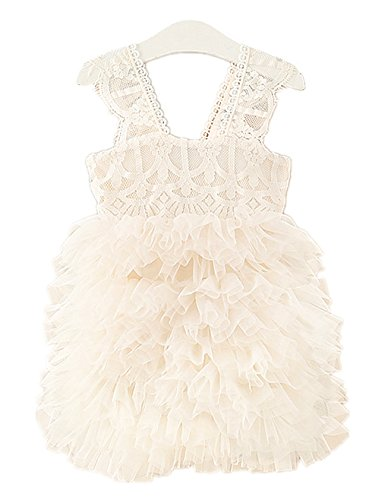 2Bunnies Girl Baby Girl Lace Flower Girl Birthday Party Tiered Tutu Tulle Dress (Ivory, 24 Months)]()