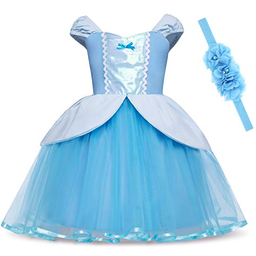 Princess Dresses (Elsa,Snow,Belle,Little Mermaid,Anna,Cinderella,Rapunzel,Aurora) Costumes for Toddler Girls(120CM/4-5years,Cinderella) -