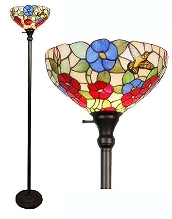 Amazon.com: Lámpara de pie estilo Tiffany vidrieras de ...