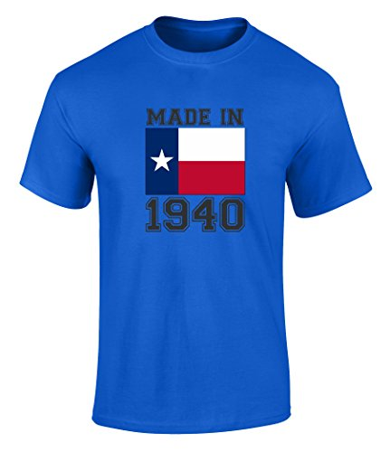 Happy 77th Birthday Gift T-Shirt With Made In Texas 1940 Graphic Print Royal - Tx Highlands Arlington