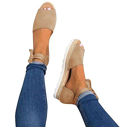 Poucw Women's Espadrilles Tie up Flat Sandals Ankle Strap Peep Toe Straw Shoes