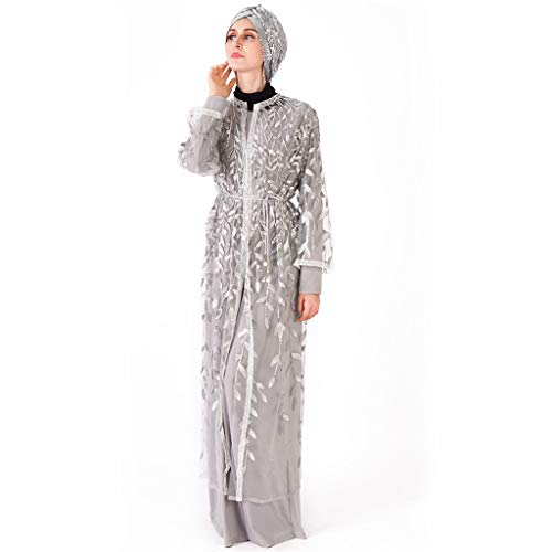 Women's Muslim Clothes Ladies Long Sleeve Casual Saudi Arabic Lace Middle East Maxi Dress Wild Blouse