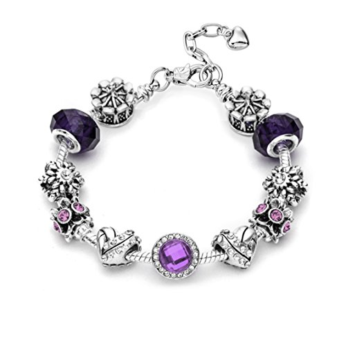 """Circle Friendship Bracelet Of (Eliana and Eli Mother Daughter Friendship Charm Bracelet Jewelry -""""Believe in Magic- European Beads Charms Bracelet Gift (Blooming Purple Circle))"""