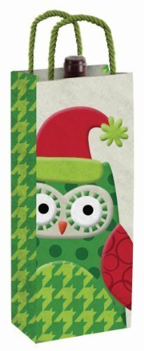 Holiday Santa Owl Felt Wine Bottle Bag Hostess Gift by Slant Collections by Slant Collections