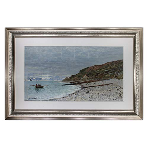 (The Pointe of Heve by Claude Monet,Oil Painting Print on Museum Quality Paper, with Antique Silver Frame, Size 33