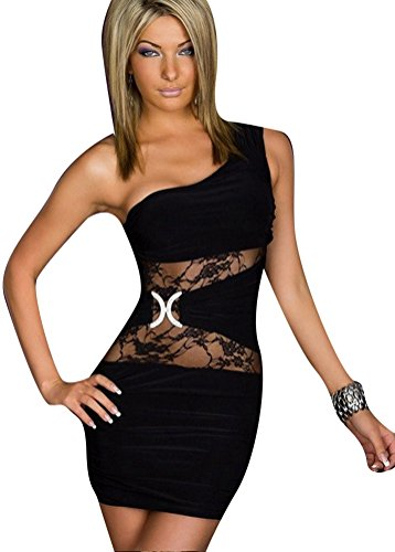 Black Dresses Cheap Prices - Ehcojdeb Women Sexy One Shoulder Hollow Floral Lace Mini Clubwear Cocktail Dress Black