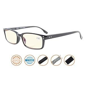 UV Protection,Anti Blue Rays,Reduce Eyestrain,Computer Reading Glasses Men Women(Black,Amber Tinted Lenses) +2.0