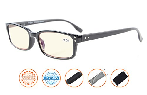 UV Protection,Anti Blue Rays,Reduce Eyestrain,Computer Reading Glasses Men Women(Black,Amber Tinted Lenses) without - Glare Computer Screen Reduce Glasses To