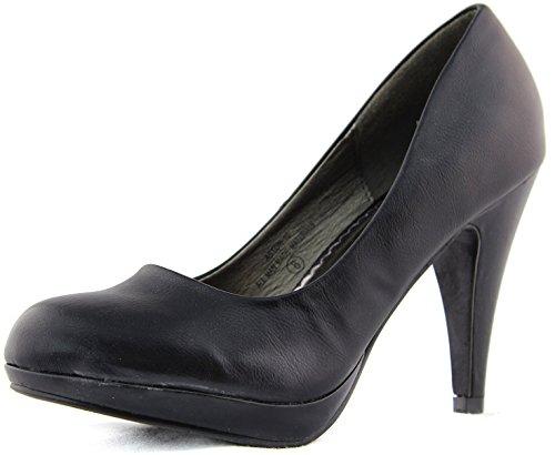 Damita K Aston-10 Semi Pointy High Heel Shoes Black