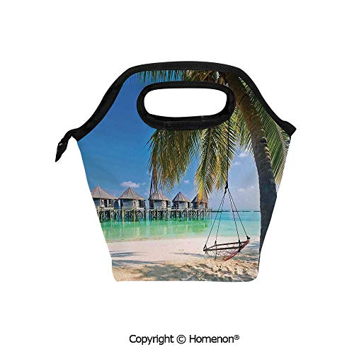 Insulated Neoprene Soft Lunch Bag Tote Handbag lunchbox,3d prited with Hammock under Palm Leaves in Golden Heaven Beach in Paradise Caribbean Peace Sun,For School work Office Kids Lunch Box & Food Co (Caribbean Massager)