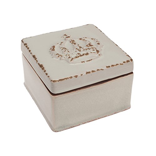 Stonebriar Square Worn White Crown Keepsake Box, Decorative Trinket Box, Unique Small Jewelry Holder, Gift Ideas for Birthdays, Christmas, Weddings, Engagements, or Any Special Occasion