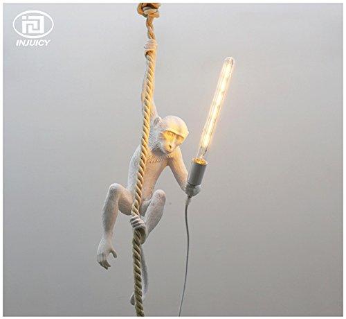 Injuicy Lighting Loft Vintage Resin Hemp Rope Monkey Pendant Lights Fixture Industrial Retro E27 Edison Ceiling Pendant Lamp Single Light for Dining Living Room Children's Bedroom Bar Cafe Gift by IJ INJUICY (Image #4)