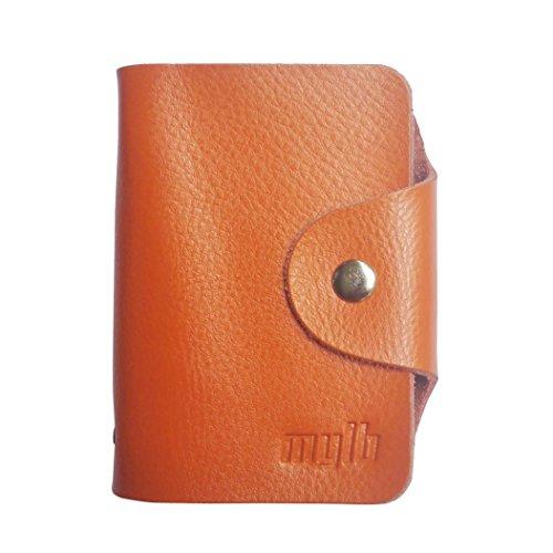 MYLB LEDER KREDITKARTENETUI KARTENETUI VISITENKARTENETUI mit Platz für 26 Kreditkarten bei Doppelbelegung mit Karten (QGY-BK) orange 6GjiriQ