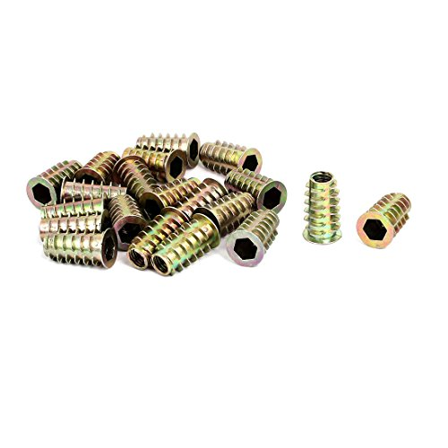 uxcell M8x25mm Interface Hex Socket Threaded Insert Nuts 20pcs for Wood Furniture