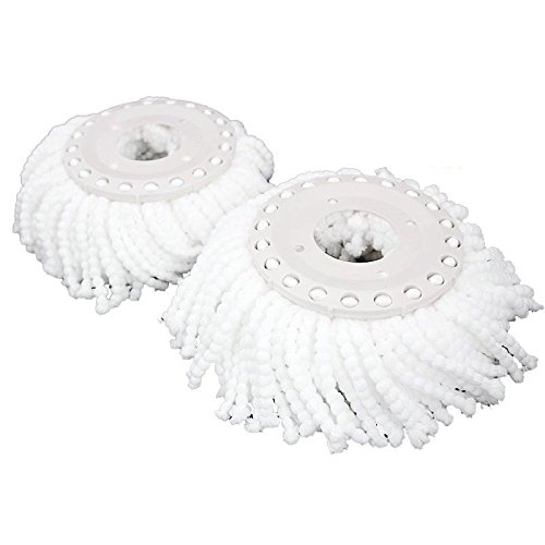 Goplus 2 Pieces Mop Replacement Head Spin Microfiber Magic Mop Refill 360° (Spinning Head)