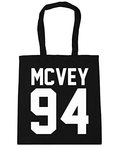 HippoWarehouse McVey 94(impreso en papel de la parte trasera) bolso de compras bolsa de gimnasio playa 42cm x38cm, 10litros negro