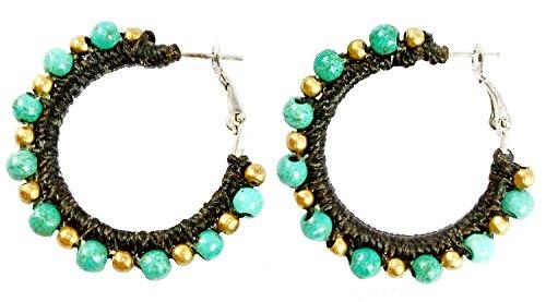 Bijoux De Ja Handmade Turquoise Howlite Round Beads Hoop Earrings