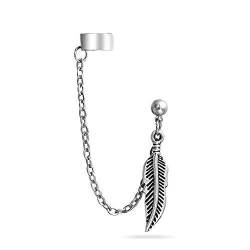 Bling Jewelry Stainless Steel Feather Dangle Chain Ball Stud Earring Ear Cuff
