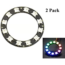 HiLetgo 2pcs 12 Bit WS2812 5050 RGB LED Ring With Integrated Driver Module For Arduino