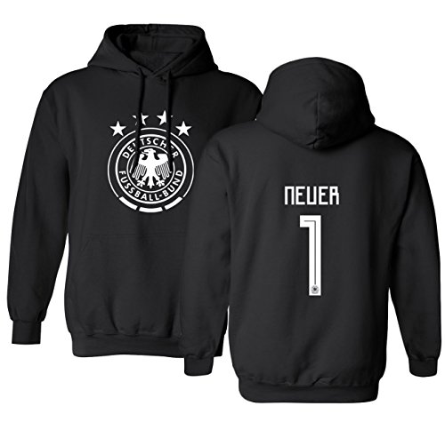 Tcamp Germany 2018 National Soccer #1 Manuel NEUER World Championship Men's Hooded Sweatshirt (Black, Adult Medium)