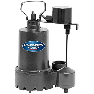 Superior Pump 92341 1/3 HP Cast Iron Sump Pump Side Discharge with Vertical Float Switch
