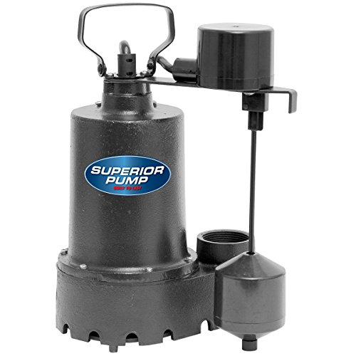 Superior Pump 92341 /3 HP Cast Iron Sump Pump Side Discharge with Vertical Float Switch