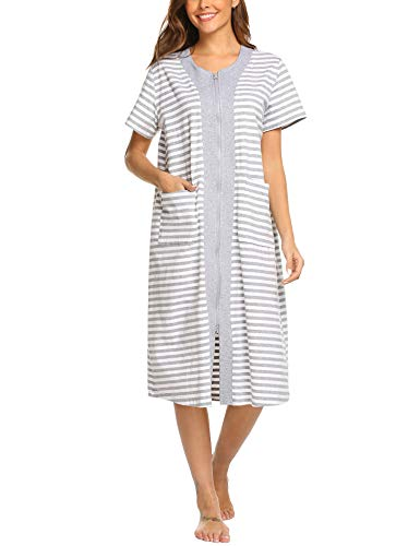 Ekouaer Women's Long Sleepwear Shirt Patchwork Short Sleeve Loungewear with Pockets S-XXL White