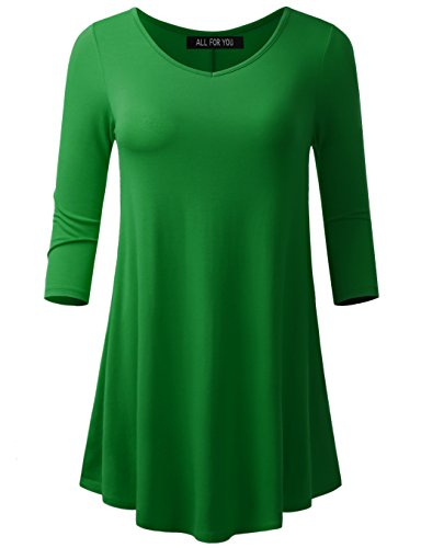 A.F.Y All For You Women's 3/4 Sleeve V-Neck Flare Hem Tunic Kelly Green Large