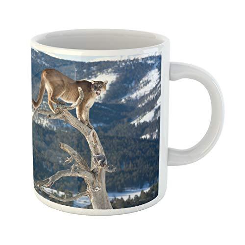 Semtomn Funny Coffee Mug Beige Panther Mountain Lion in Dead Tree Tan Animal Fierce 11 Oz Ceramic Coffee Mugs Tea Cup Best Gift Or Souvenir
