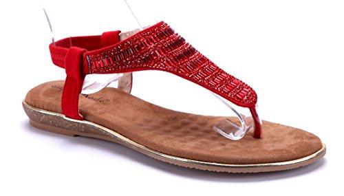 Schuhtempel24 Damenschuhe Zehentrenner Sandales Plates Pierres D