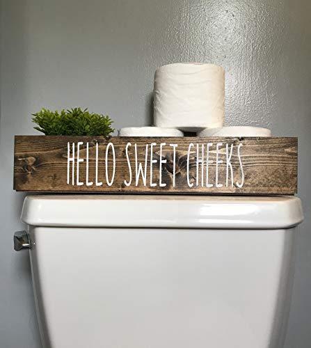 (Hello Sweet Cheeks Decorative Toilet Topper Bathroom Storage Box Toilet Paper Holder)