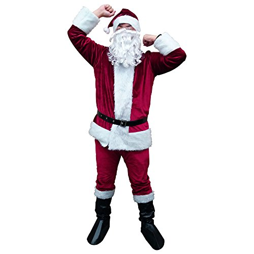 Santa Claus Costume Adult Men Santa Suit for Christmas (Dark Red)