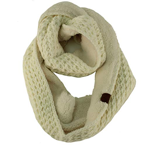 Winter Warm Soft Sherpa Fleece Thick Knit Loop Infinity Ski Unisex Scarf Ivory