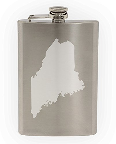 State of Maine Etched 8oz Stainless Steel - Portland Glasses Maine