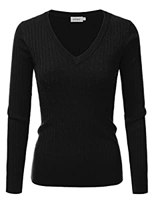 Doublju Slim Fit Twisted Cable Knit V-Neck Sweater For Women
