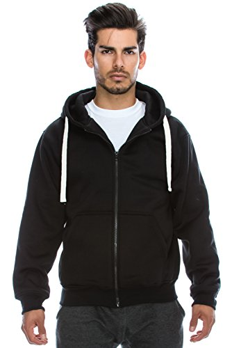 Mens Hipster Hip Hop Basic Heavy Weight Zip-Up BLACK Hoodie Jacket X-Large