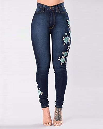 Stretta Jeans Pantaloni Fori Skinny Denim Slim Scuro In Gamba Elastico Fit Blu Pantalone Donna Lunghi A Matita 1fpHfq