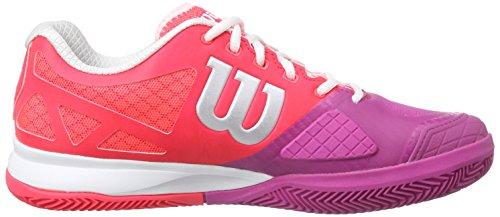 Wilson Rush Pro 2.0 Clay, Zapatillas de Tenis Unisex Adulto Rojo / Rosa / Blanco