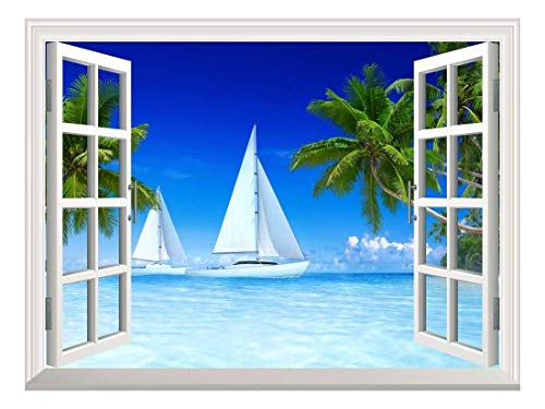 Removable Wall Sticker Wall Mural Beautiful Tropical Scenery of Sailboats on Beach and Palm Tree Creative Window View Wall Decor