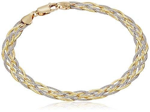 14k Gold Two-Tone Yellow and White Textured Braided Herringbone Chain Link Bracelet, 7